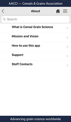 Cereals and Grains app about page