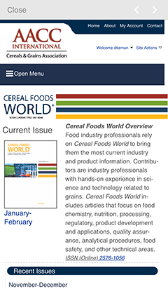 Cereals and Grains Association mobile app CFW view