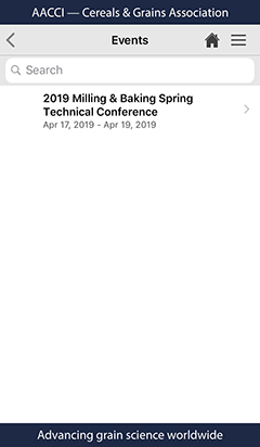 Cereals and Grains Association mobile app events view